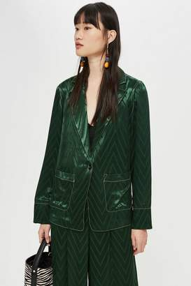 Topshop Chevron Contrast Stitch Jacket