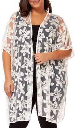 Dex Plus Floral Lace Kimono Cardigan