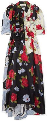 Simone Rocha Bow-embellished Ruffled Printed Silk-satin Midi Dress - Black