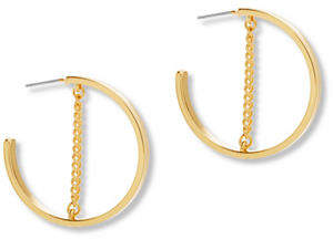 Steve Madden Small Open Hoop Chain Earrings