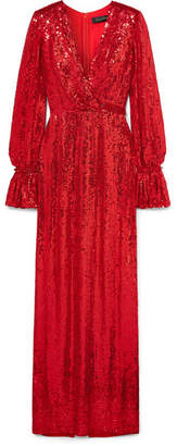 Jenny Packham Niari Wrap-effect Sequined Silk-chiffon Gown - Red