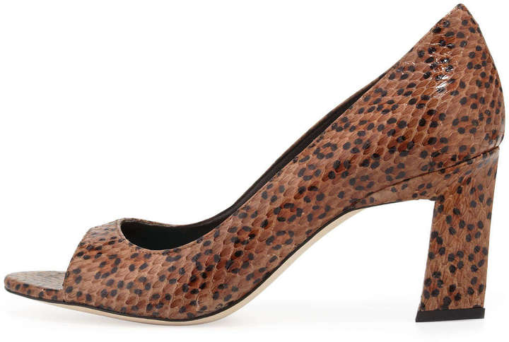Brian Atwood Spotted Snake Peep-Toe Pump
