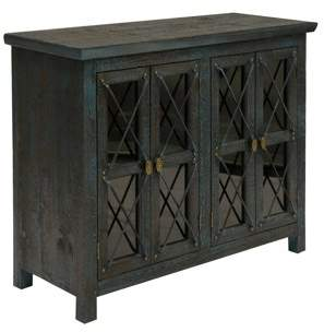 Generic Four Door Chest with Leaded Glass Inserts - Mystic Blue and Gold Trim