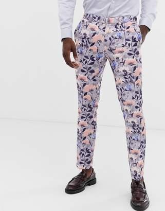 Burton Menswear wedding skinny suit trousers in blue floral print