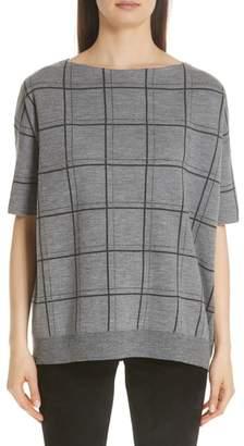 Lafayette 148 New York Chain Embellished Oversize Jacquard Sweater