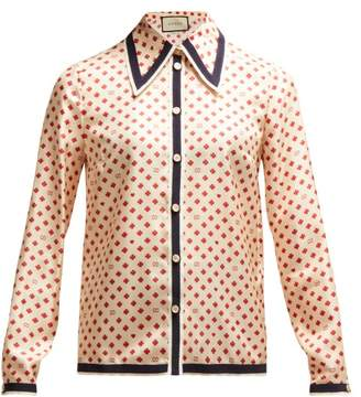 Gucci Gg Print Silk Blouse - Womens - Ivory Multi