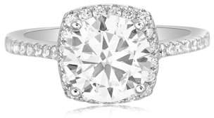 Lesa Michele Cubic Zirconia Solitaire with Halo Engagement Ring in Sterling Silver