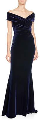 Talbot Runhof Stretch-Velvet Off-Shoulder Short-Sleeve Mermaid Gown