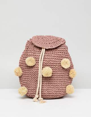 Pull&Bear pom pom woven backpack in pink