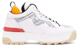 Fendi T Rex Mesh Panel Leather Trainers - Womens - White Multi