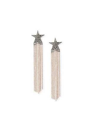 Siena Jewelry 14k Rose Gold Diamond Star & Chain Earrings