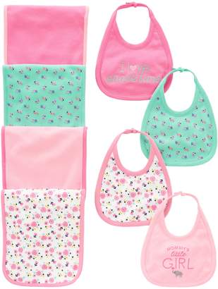 Carter's Simple Joys by Baby Girls' 8-Pack Burp Cloth and Bib Set