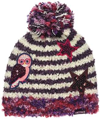 Fat Face Girl's Stripe Badge Beanie Hat,(Manufacturer Size: S)