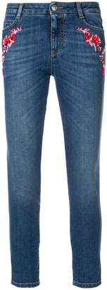 Ermanno Scervino floral embroidered cropped skinny jeans