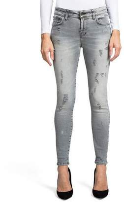 PRPS Super Stretch Mid-Rise Distressed Ankle Skinny Jeans