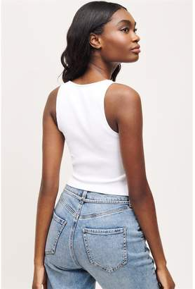 Dynamite Seamless High Back Crop Tank Top Bright White