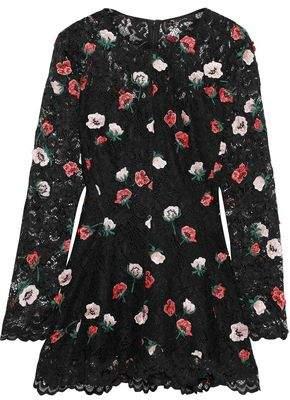 Lela Rose Floral-appliqued Corded Lace Top