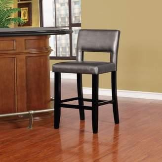 Linon Velma Bar Stool, Pewter, 30 inch Seat Height