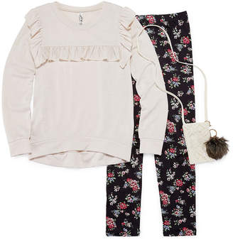 Knitworks Knit Works Long Sleeve Ruffle Detail Top Legging Set with Purse & KeyChain- Girls' 7-16 & Plus