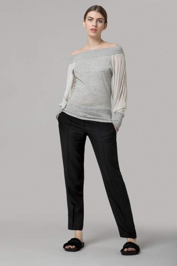 Amanda Wakeley Grey Off Shoulder Cashmere Jumper With Silk Sleeves