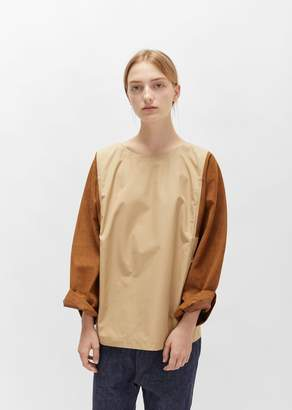 Sofie D'hoore Egyptian Cotton Blouse with Nubuck Sleeves Sand Brown