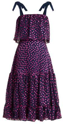 Saloni Jessie Polka Dot Devore Silk Blend Dress - Womens - Navy Multi