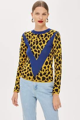Topshop Leopard Print Chevron Top
