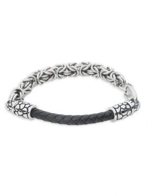 Effy Sterling Silver and Ruthenium Cuban Chain Bracelet