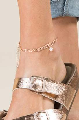 francesca's Rio Rose Gold Glass Stone Anklet - Rose/Gold