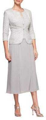 Alex Evenings Plus Two-Piece Textured Jacket and Mock Dress Set