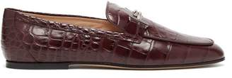 Tod's Double T Bar Crocodile Effect Leather Loafers - Womens - Burgundy