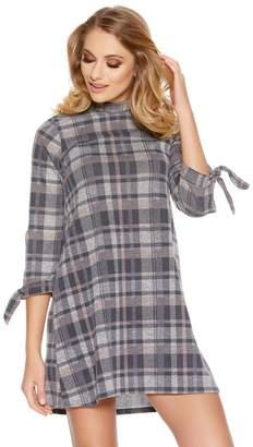 Quiz Grey Check Print High Neck Tunic Dress