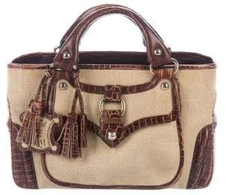 Celine Embossed Leather-Trimmed Boogie Handle Bag