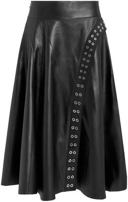 Derek Lam Grommet Leather Midi Skirt