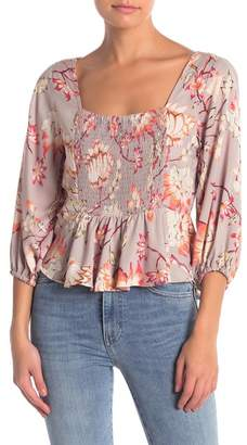 Angie Printed Smocked Front Blouse