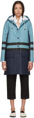 Marni Navy and Blue Hooded Double Stripe Coat