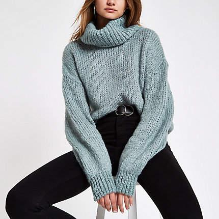 Womens Light Green roll neck knit jumper