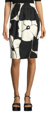 Marc Jacobs Elasticated Cotton Monochrome Floral Skirt