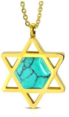 NRG Judaica Gold Color Plated Star of David Charm Link Chain Necklace with Hexagon Turquoise Stone Length: 20""