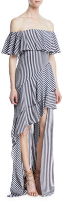Halston Off-the-Shoulder Striped Flounce Gown
