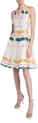 Maggy London Clipped Ribbon Fit-&-Flare Dress