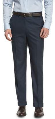 Brioni Phi Flat-Front Twill Trousers, Navy
