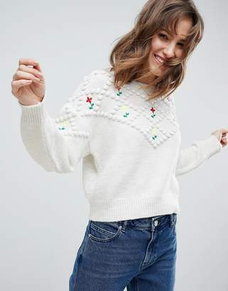 Asos Design Jumper with Pom Poms and Floral Embroidery