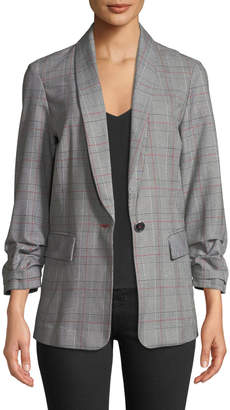 Laundry by Shelli Segal Ruched-Sleeve Plaid Side-Stripe Jacket