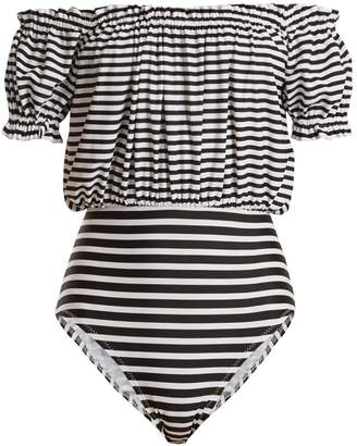 Jose Mio striped off-the-shoulder swimsuit