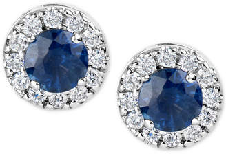 Macy's Sapphire (1-1/5 ct. t.w.) and Diamond (1/3 ct. t.w.) Halo Stud Earrings in 14k White Gold