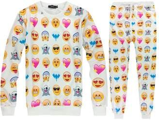 Qiyuxow 3D Emoji Printed Teen Activewear Sweatpants and Shirt Joggers (2XL, )