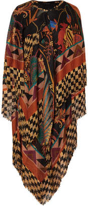 Etro Asymmetric Fringed Jacquard Midi Dress - Brown