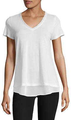 INC International Concepts Petite V-Neck Tiered Tee