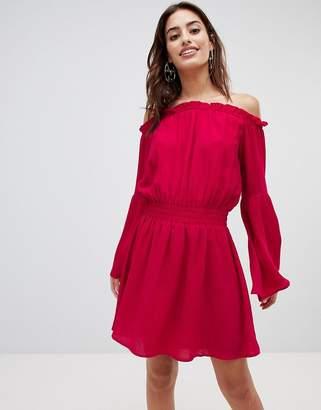 NA-KD Wide Sleeve Off Shoulder Dress